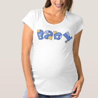 La camiseta de maternidad de las mujeres azules