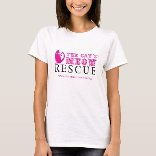 La camiseta del blanco del rescate del maullido