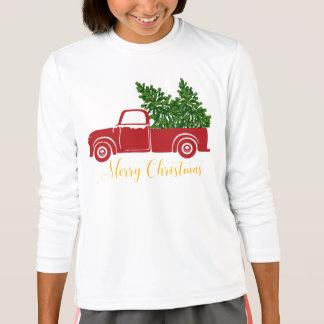 La camiseta del chica del camión del árbol de