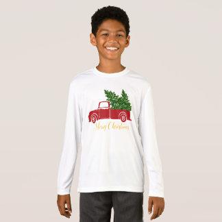 La camiseta del muchacho del camión del árbol de