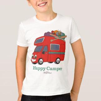 La camiseta del niño del campista contento