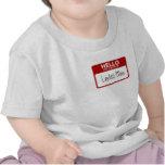 La camiseta divertida del bebé, hola mi nombre es