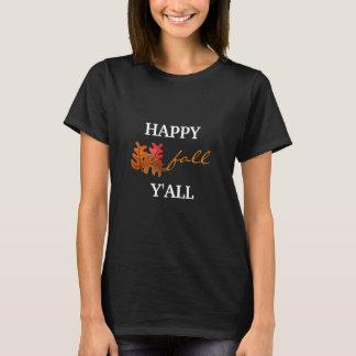 La camiseta negra básica de las mujeres felices de camiseta