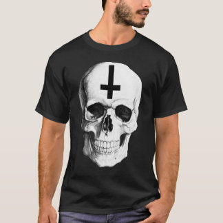 La camiseta oscura básica de los hombres del hueso
