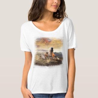 La camiseta pintada del novio del caballo del