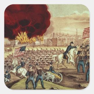 La captura de Atlanta del Ejército de la Unión Pegatinas Cuadradases