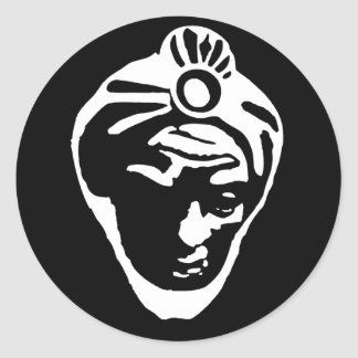 La cara de Baltasar (negro) Pegatina Redonda