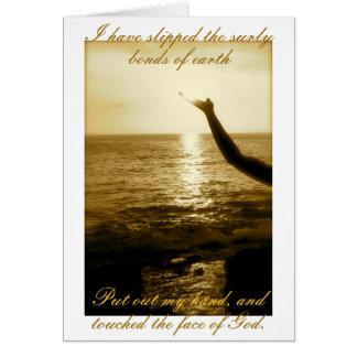 La cara de dios - consolación y condolencia tarjeta de felicitación