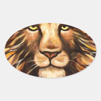 La cara del león pegatina ovalada