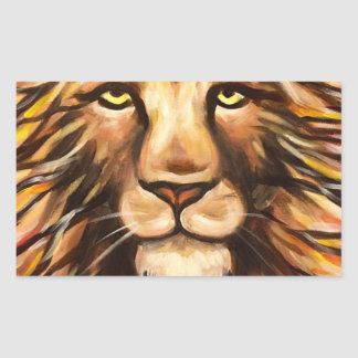 La cara del león pegatina rectangular