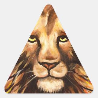La cara del león pegatina triangular