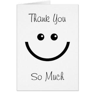 La cara feliz le agradece tarjeta de felicitación