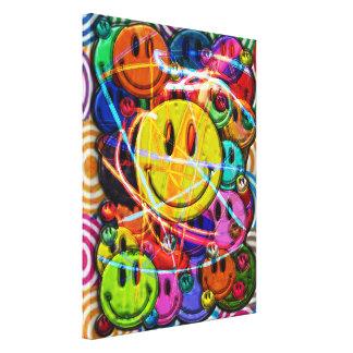 La cara sonriente abotona diseño abstracto lona estirada galerías