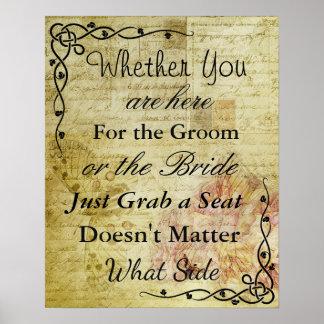 """La carta del asiento del boda, sienta """"dondequiera póster"""