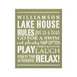La casa personalizada del lago family gobierna bla impresión en lona estirada