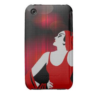 La casamata encajona rojo retro de la diva iPhone 3 Case-Mate fundas