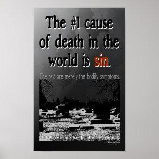 La causa 1 de la muerte es pecado poster