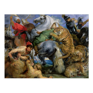 La caza del tigre, c.1616 postal