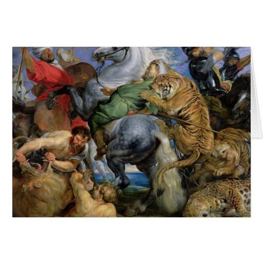 La caza del tigre, c.1616 tarjeton