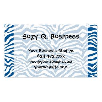 La cebra azul de la diversión raya el estampado de tarjetas de visita