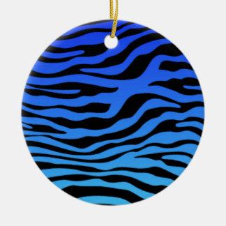 La cebra azul eléctrica raya el estampado de adorno redondo de cerámica