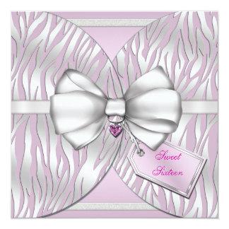 La cebra de plata rosada invita a la cinta y al invitación 13,3 cm x 13,3cm