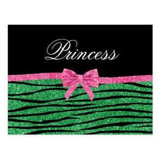 La cebra del brillo del verde de la princesa raya postal