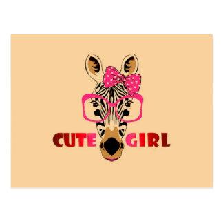 La cebra linda conoce a un chica lindo; Dibujo Postal