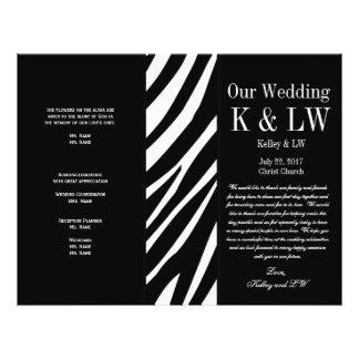 La cebra negra del programa del boda raya el model folleto 21,6 x 28 cm