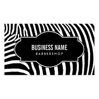 La cebra negra y blanca simple raya la peluquería tarjetas de visita
