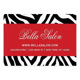 La cebra negra y roja raya el estampado de tarjetas de visita grandes