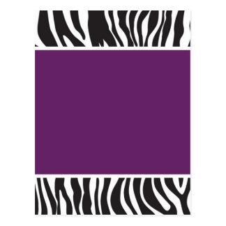 La cebra púrpura invita postal