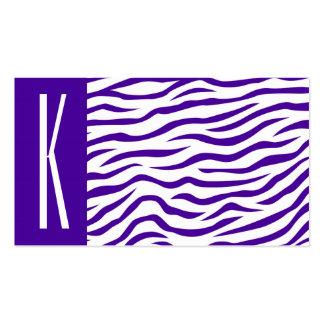 La cebra púrpura y blanca violeta raya el tarjetas de visita
