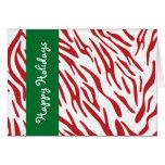 La cebra roja raya la tarjeta de Navidad feliz del