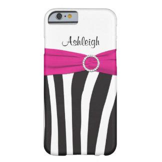 La cebra rosada, negra, blanca rayó la caja del funda de iPhone 6 barely there