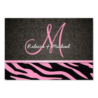 La cebra rosada y negra de Bubblegum raya las Invitacion Personalizada