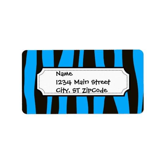 La cebra verde azulada del tigre del negro azul etiqueta de dirección