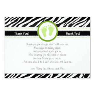 La cebra verde le agradece cardar la nota invitación 12,7 x 17,8 cm