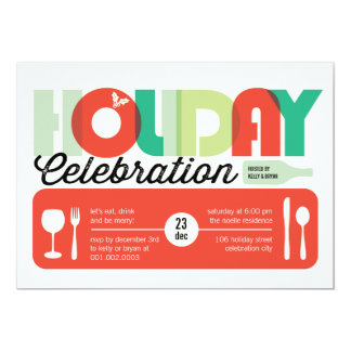 La celebración de días festivos moderna colorida invitación 12,7 x 17,8 cm