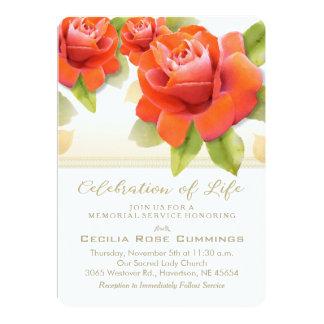 La celebración del oro de los rosas rojos del invitación 12,7 x 17,8 cm