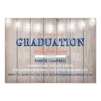La celebración rústica de la graduación invita invitación 12,7 x 17,8 cm