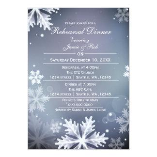 La cena azul y de plata del ensayo del invierno invitación 12,7 x 17,8 cm
