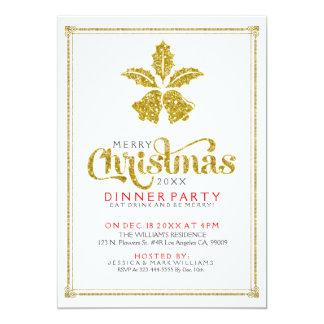 La cena de Belces de navidad del brillo del oro Invitación 12,7 X 17,8 Cm