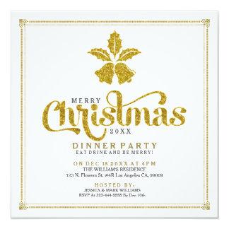 La cena de Belces de navidad del brillo del oro Invitación 13,3 Cm X 13,3cm