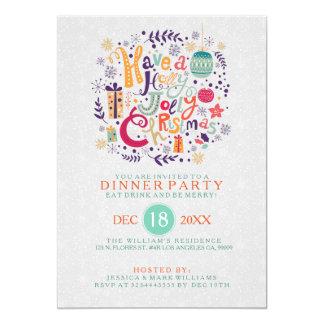 La cena de navidad alegre del acebo retro invita invitación 12,7 x 17,8 cm