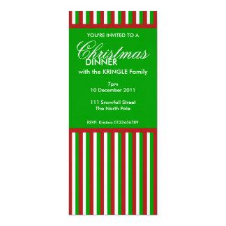 La cena de navidad verde de las rayas del navidad invitación 10,1 x 23,5 cm