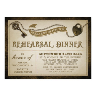 La cena del ensayo de la llave maestra de la invitación 12,7 x 17,8 cm