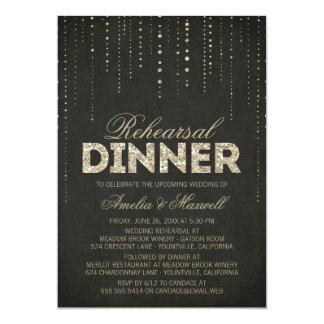 La cena del ensayo de la mirada del brillo de la invitacion personalizada