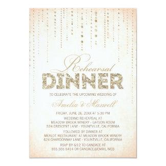 La cena del ensayo de la mirada del brillo del invitación 12,7 x 17,8 cm