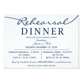 la cena elegante blanca del ensayo de la escritura invitación 12,7 x 17,8 cm